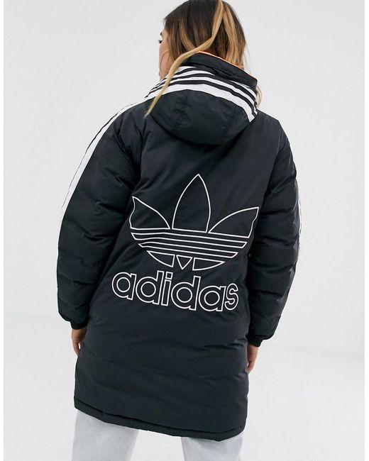 Adidas Originals Black Three Stripe Parka