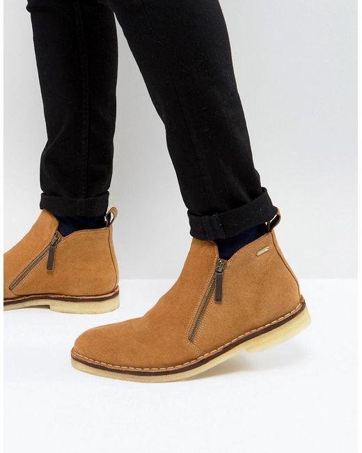 Kurt Geiger - Brown Otis Suede Zip Boots In Tan for Men - Lyst