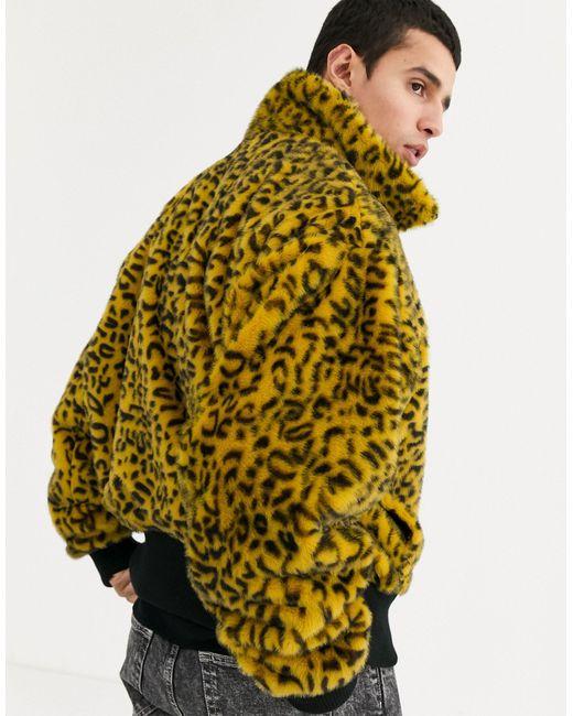Бомбер Из Искусственного Меха Со Звериным Принтом -желтый Reclaimed (vintage) для него, цвет: Yellow