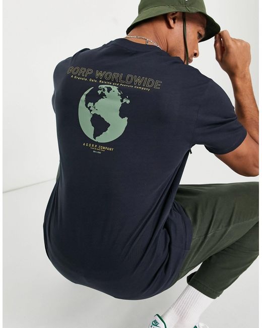 "T-shirt oversize blu navy con stampa ""Worldwide"" sul retro di Only & Sons in Blue da Uomo"