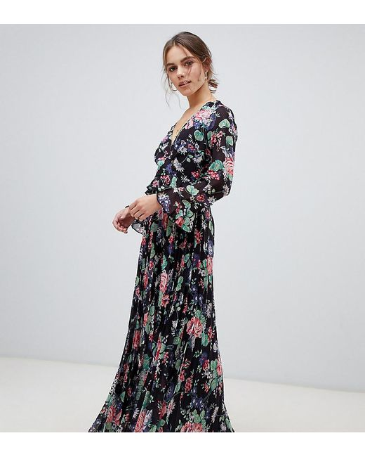 ASOS Petite - Geplooide Maxi-jurk Met Overslag En Ruches In Bloemenprint in het Multicolor