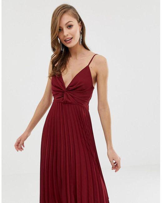 d91a0a7d9 Vestido camisola midi con falda plisada y corpiño con nudo de mujer de  color rojo