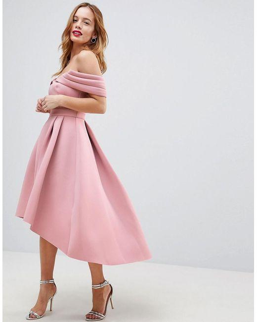 Lyst - Asos Bardot Cold Shoulder Dip Back Midi Prom Dress in Pink