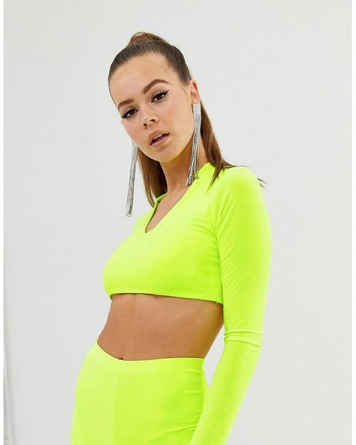 eb2d8bc6daf Fashionkilla - Long Sleeve Crop Top With Collar Detail In Neon Yellow -  Lyst ...