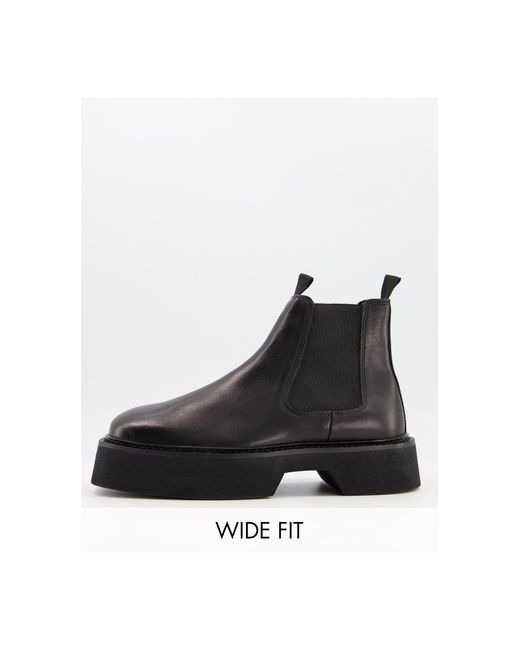 ASOS Black Wide Fit Chelsea Square Toe Boots for men