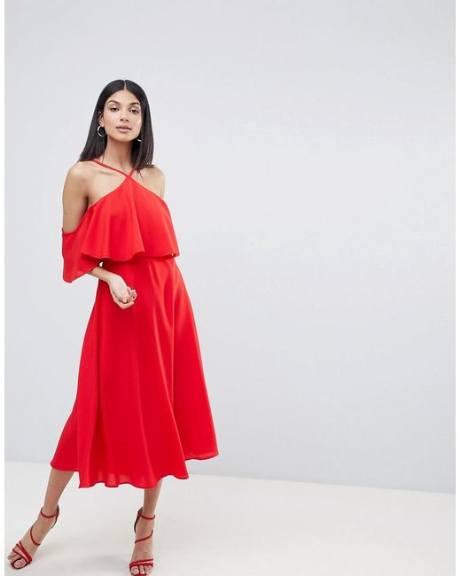ASOS ASOS DESIGN Tall ruffle top midi dress Free Shipping Discounts Outlet Cheap Prices Inexpensive Sale Online New Arrival Online P2HjNqq