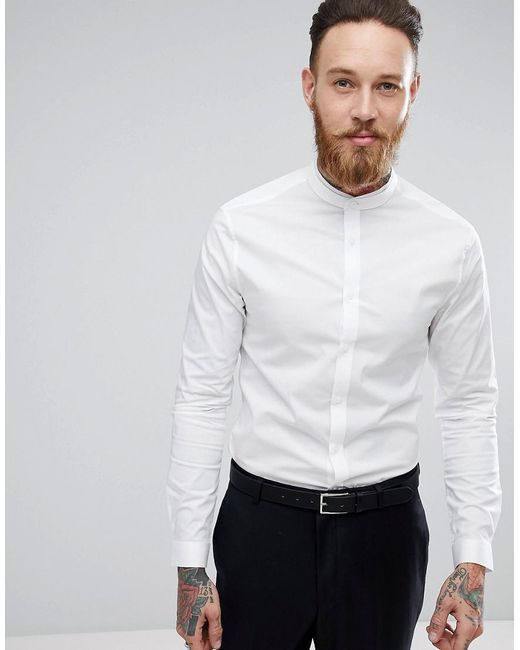ASOS - White Skinny Fit Shirt With Lace Trim And Grandad Collar for Men -  Lyst ...
