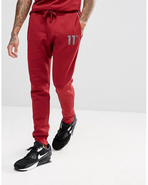 11 Degrees - Skinny Joggers In Red for Men - Lyst