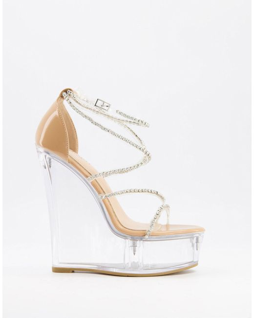 SIMMI Shoes Natural Simmi London – Estephania – Sandale mit Keilabsatz und transparenter Plateausohle