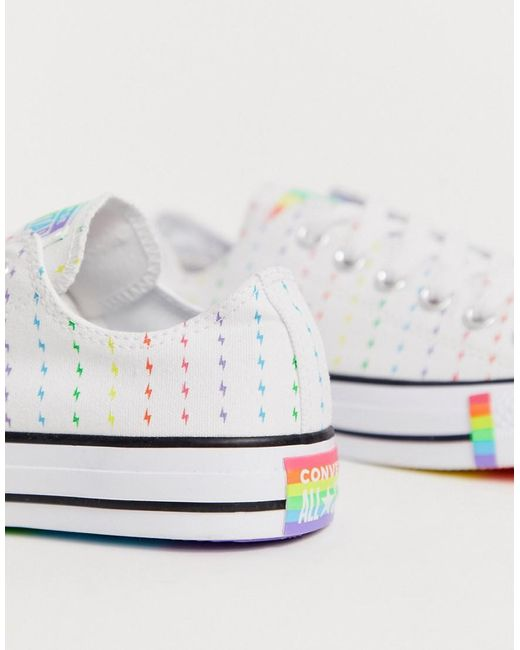 Women's Pride Chuck Taylor Ox All Star White And Rainbow Lightening Bolt Sneakers
