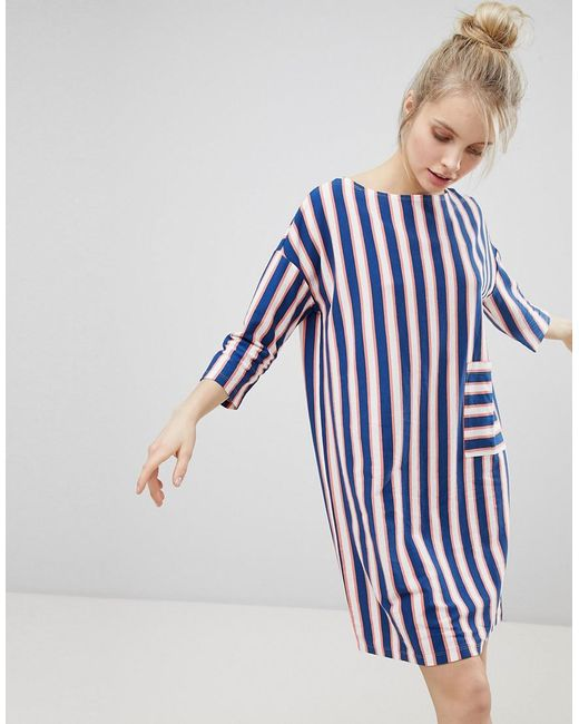Monki - Blue Stripe Pocket Front Smock Dress - Lyst