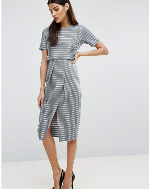ASOS | Blue Double Layer Wiggle Dress In Stripe | Lyst