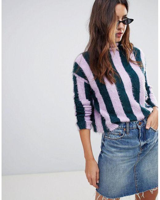 Blank NYC Blue Lilac Stripe High Neck Sweater