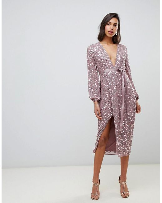 ASOS Pink Midi Dress In Allover Scatter Sequin With Ribbon Tie Waist