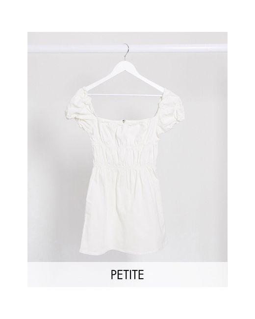 Джинсовое Присборенное Платье Белого Цвета -белый Missguided, цвет: White