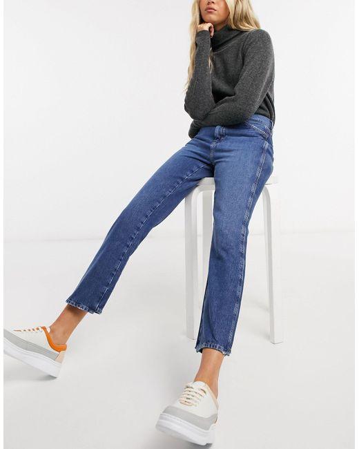 M.i.h. Cult - Jeans dritti a vita medio alta blu slavato di MiH Jeans in Blue