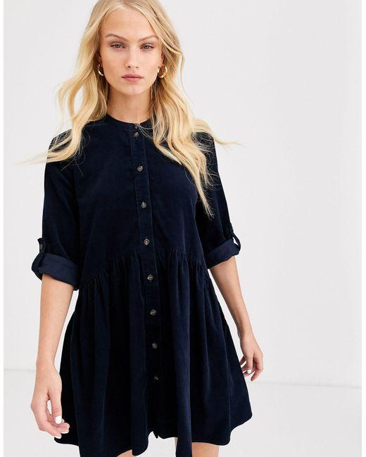 Вельветовое Платье-рубашка Мини -темно-синий ONLY, цвет: Blue