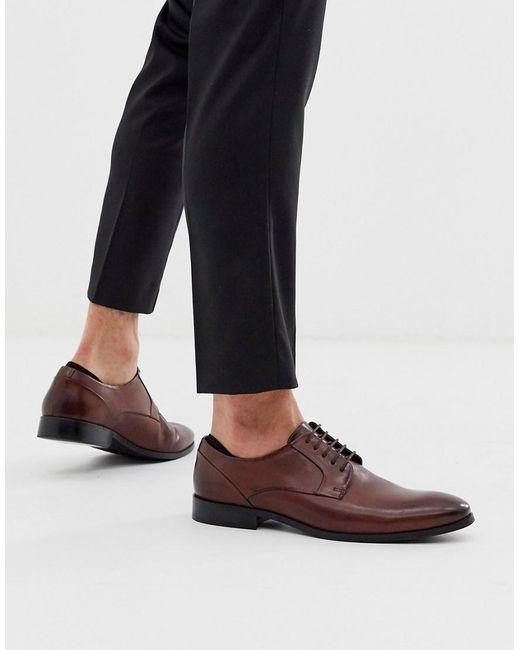 Коричневые Кожаные Туфли Со Шнуровкой ASOS для него, цвет: Brown