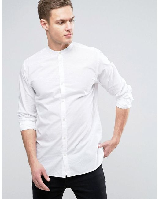 Jack & Jones - White Premium Slim Grandad Shirt In Texture for Men - Lyst