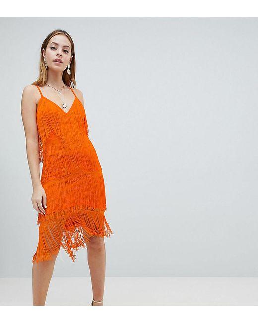 ce191b30488 ASOS - Orange Asos Design Petite Fringe   Lace Plunge Bodycon Midi Dress ...