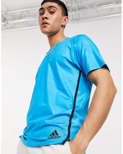Голубая Футболка -голубой Adidas для него, цвет: Blue