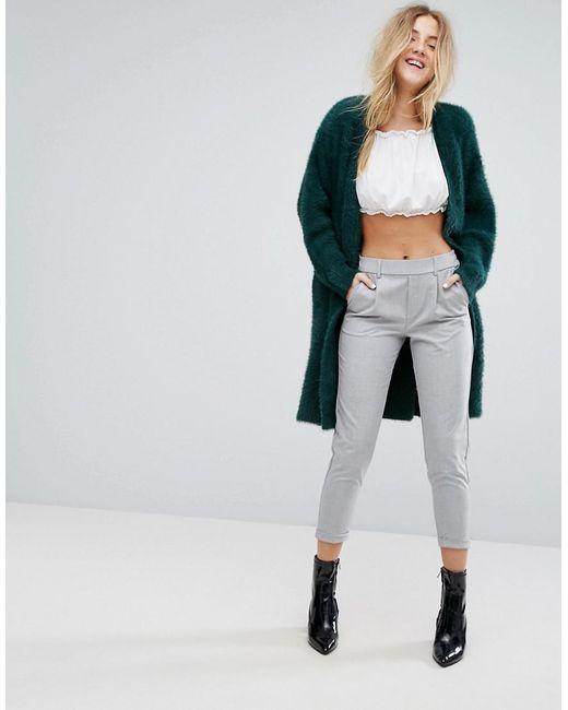 Bershka Longline Fluffy Cardigan in Green | Lyst