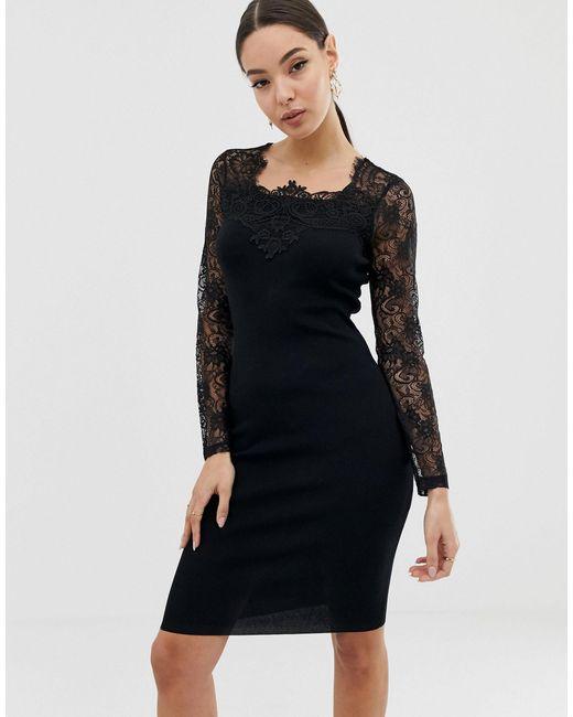 Черное Платье С Кружевными Рукавами -черный Lipsy, цвет: Black