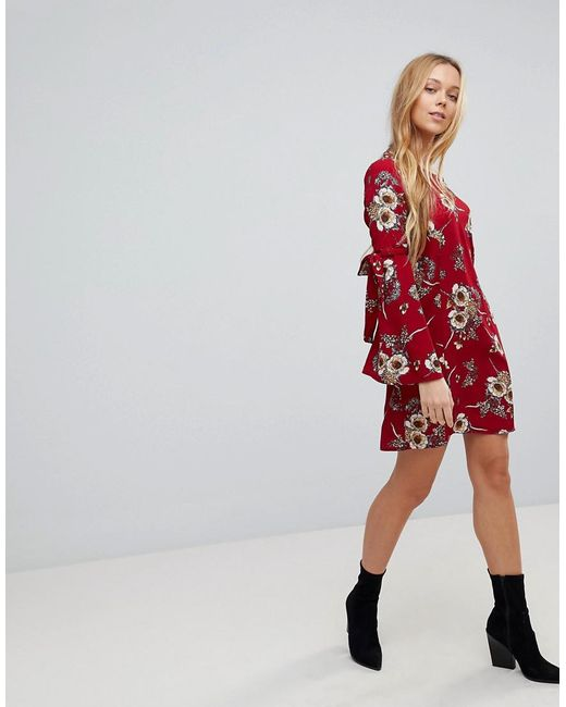 Girls on Film Floral Dress With Flare Tie Sleeve Where Can I Order Enjoy For Sale Clearance Low Cost 6kLSYR