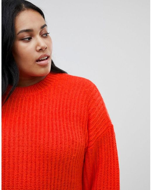 a3ed5bba05 ... ASOS - Red Asos Design Curve Chunky Sweater In Rib With Crew Neck - Lyst  ...