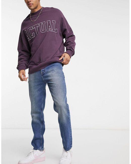Jeans regular a vita alta lavaggio blu medio di ASOS in Blue da Uomo