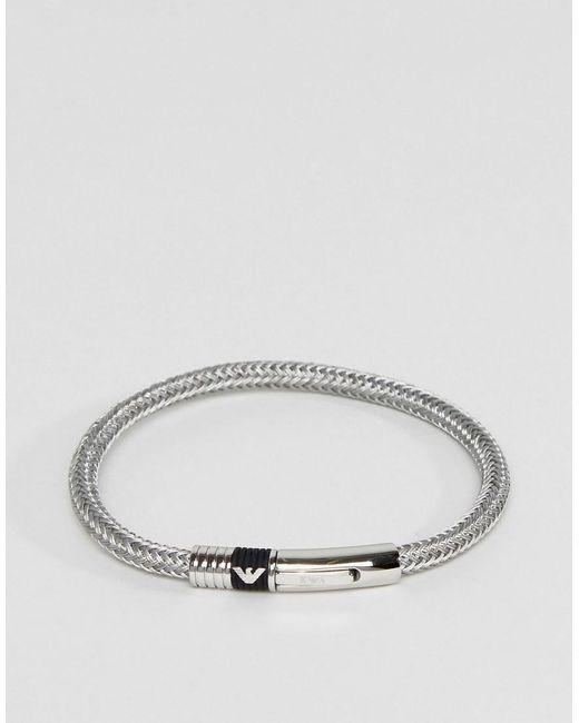 Emporio Armani | Metallic Signature Bracelet In Silver | Lyst