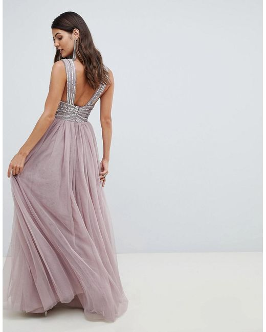 e6f2dfa79a6 ... ASOS - Pink Maxi Dress In Tulle With Embellished Bodice - Lyst