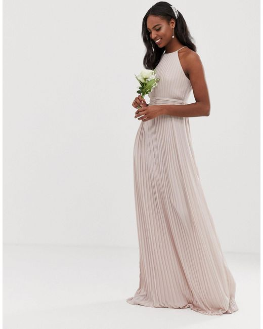 TFNC London Multicolor Bridesmaid Exclusive High Neck Pleated Maxi Dress In Taupe