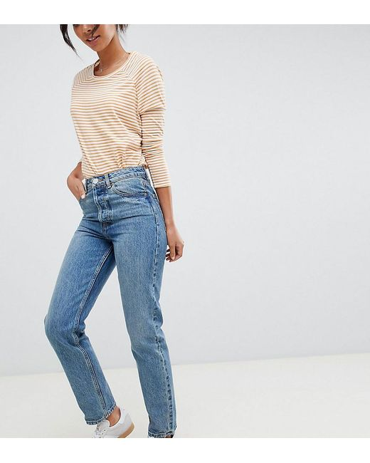 best sell buy sale casual shoes Asos Design Tall Recycled Florence Authentic Straight Leg Jeans In Light  Stonewash Blue