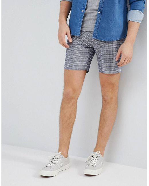 ASOS - Blue Slim Mid Length Smart Short In Navy Seersucker Check for Men - Lyst