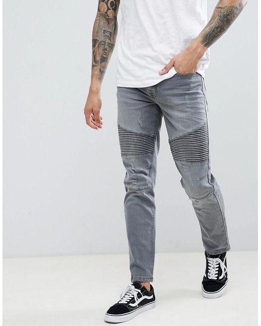 907a34194dff2 Threadbare - Gray Skinny Fit Biker Jeans In Grey Wash for Men - Lyst ...
