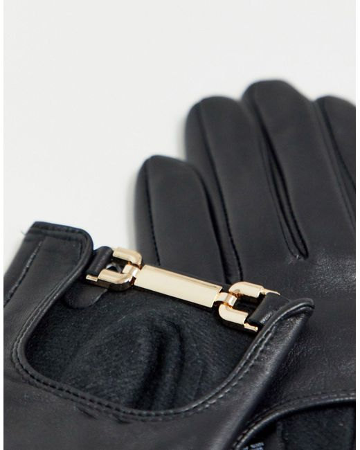 Черные Кожаные Перчатки С Золотистой Фурнитурой ASOS, цвет: Black