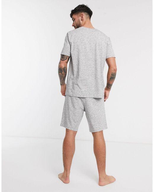 Темно-серая Меланжевая Пижама С Футболкой И Шортами ASOS для него, цвет: Gray