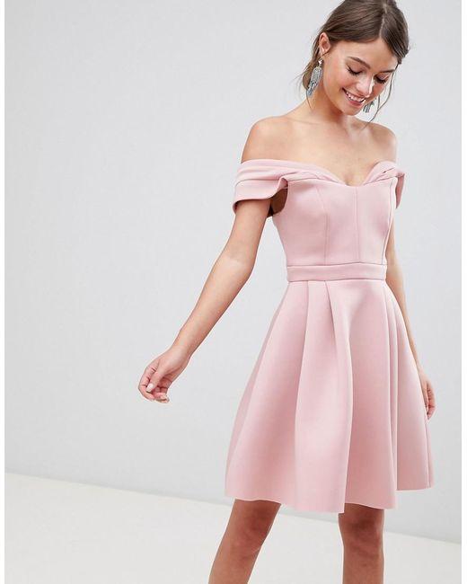 b2bc885a37f ASOS - Pink Asos Bardot Cold Shoulder Mini Prom Dress - Lyst ...