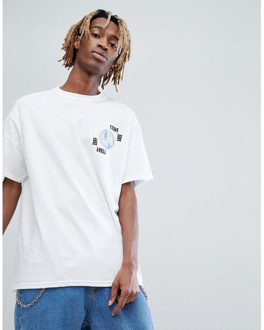 Inspired T-Shirt With Rave Print In White - White Reclaimed Vintage Cheap Sale Clearance Store 33kwW9tSQ