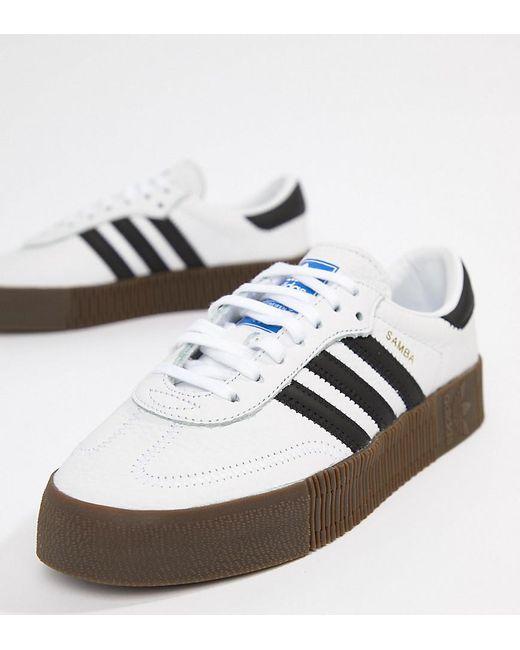 fdb087d69ee Adidas Originals - Samba Rose Sneakers In White With Dark Gum Sole - Lyst  ...