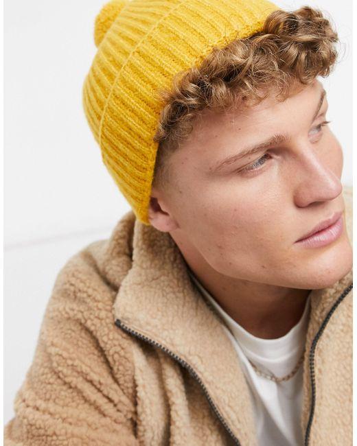 Желтая Шапка-бини -желтый Topman для него, цвет: Multicolor