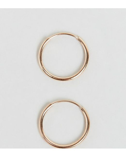 ASOS - Metallic Rose Gold Plated Sterling Silver 9mm Hoop Earrings - Lyst