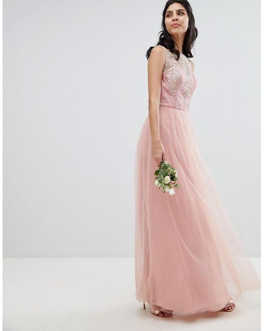 Sleeveless Maxi Dress With Premium Lace And Tulle Skirt