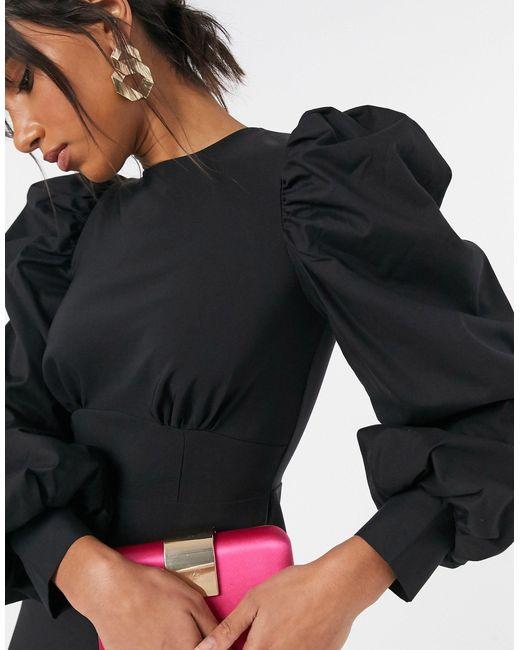 ASOS Black Mix Sleeve Mini Dress