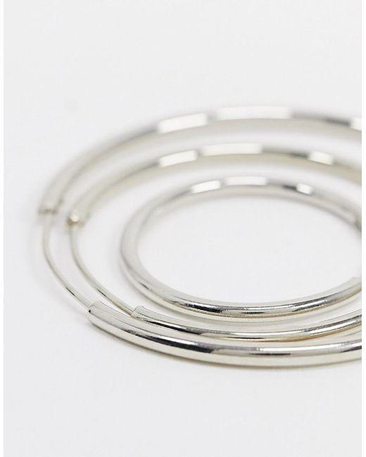 ASOS Metallic Pack Of 3 Fine Hoop Earrings