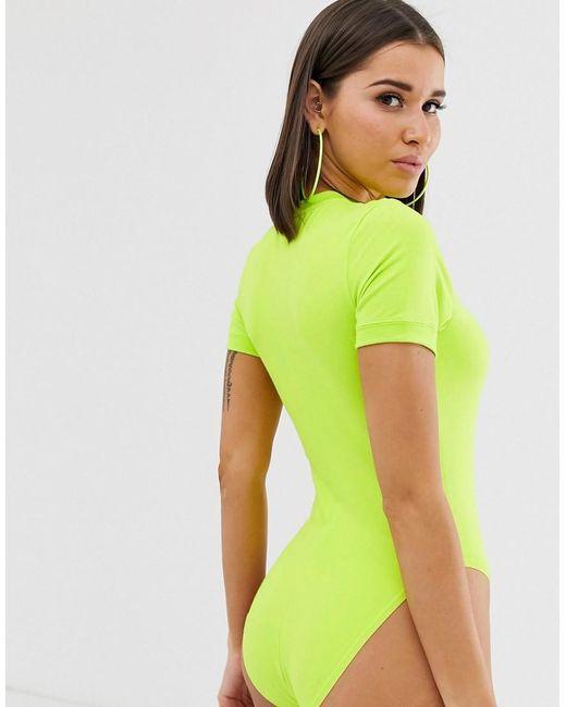 Body Femme Fluo Vert Manches Courtes À rthdBsQCox