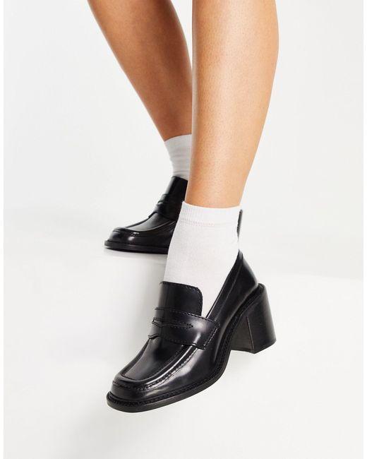 Черные Кожаные Лоферы Премиум-класса На Среднем Каблуке ASOS, цвет: Black