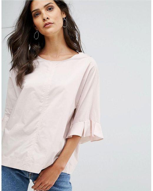 Mango | Pink 3/4 Frill Sleeve Blouse | Lyst