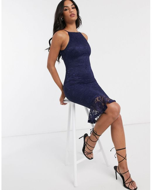 Кружевное Платье Миди -темно-синий AX Paris, цвет: Blue